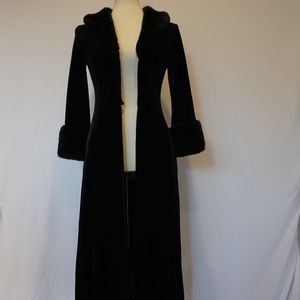 Faux Fur Long Black Coat